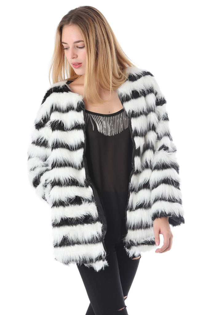 f973012b20 Black and White Striped Faux Fur Jacket – Velvet Bungalow Boutique