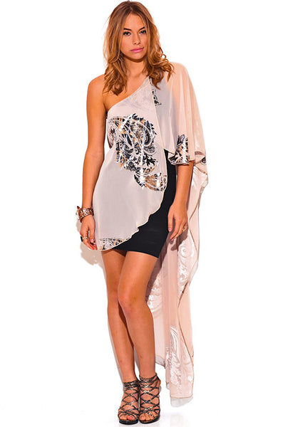 One Shoulder Beige Chiffon Cape Mini Dress