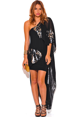 Black Chiffon Cape One Shoulder Dress