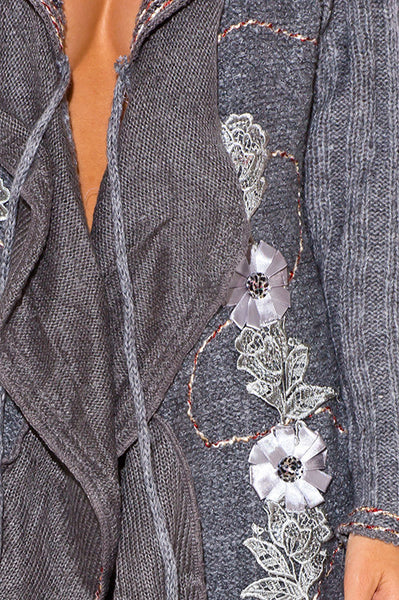 Grey Wool Blend Mohair Embellished Sweater Jacket