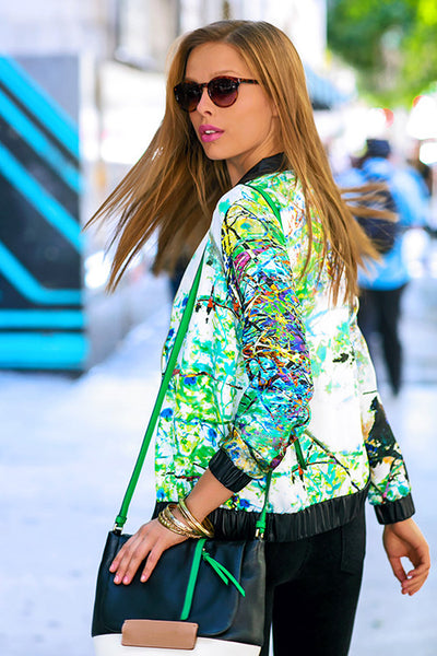 Green Abstract Print Charmeuse Bomber Jacket