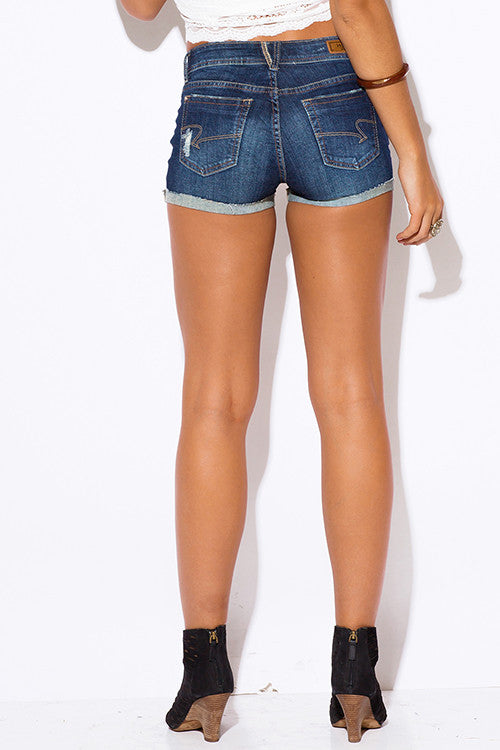 18c99a33aca ... Hart Denim Dark Blue Ripped Rolled Cuff Distressed Jeans Shorts ...