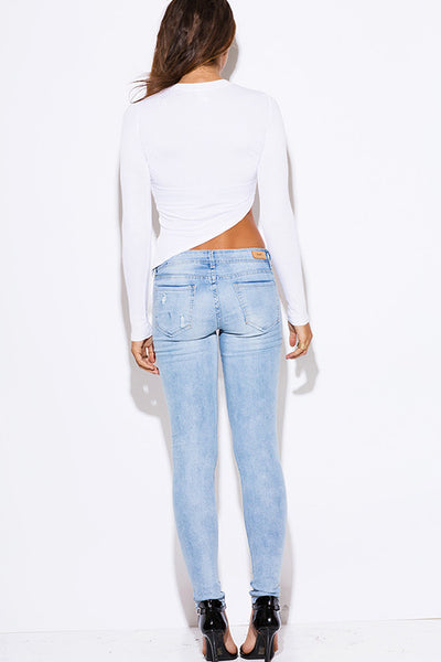 Hart Denim Distressed Light Blue Denim Ripped Skinny Jeans