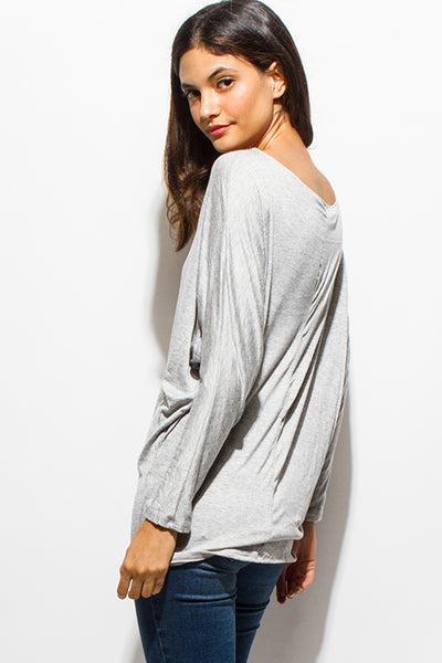 Heather Gray Off the Shoulder Tunic Tee
