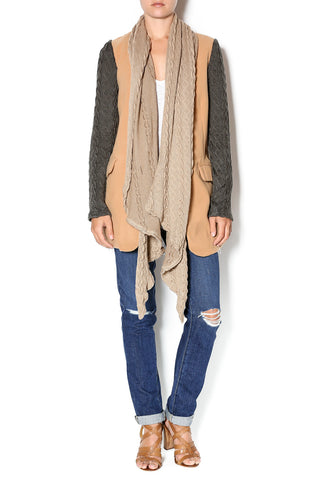 Hommage Camel Cardigan with Gray Knit Sleeve