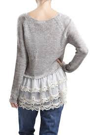 Blu Pepper Grey Lace Bottom Sweater Top