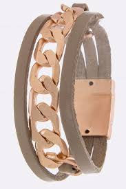 Chain Link Genuine Leather Bracelet