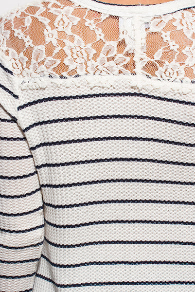 Ivory Striped Lace Sleeve Thermal Tunic Top
