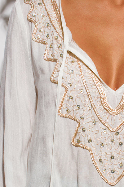 Ivory White V Neck Sequined Embroidered Top