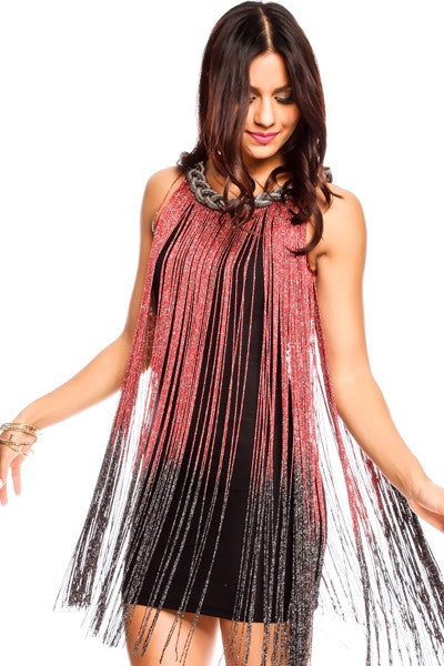 Red Black Ombre Fringe Party Dress