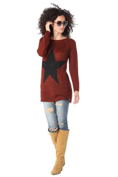 Burgundy Red Sweater with Star Detail