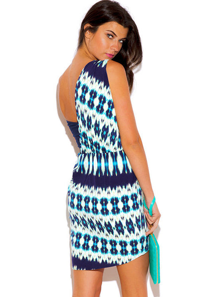 Navy Blue Ethnic Print One Shoulder Wrap Slip Dress