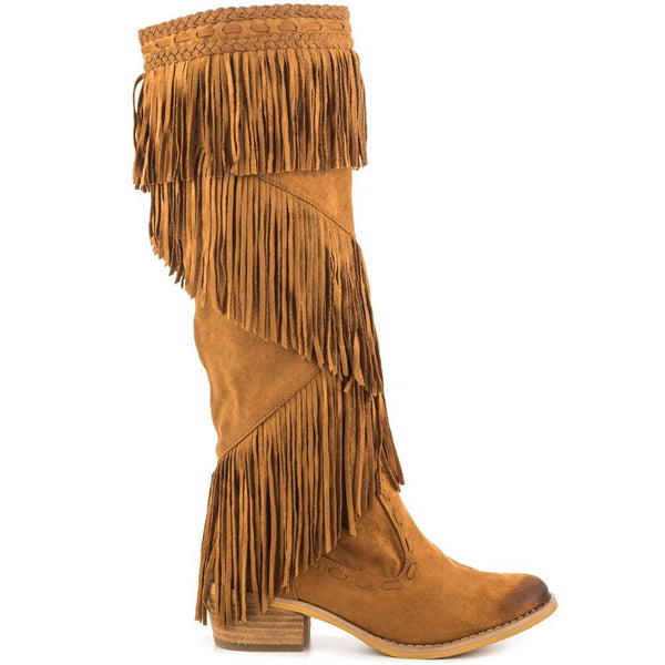 Camel Tan Tall Fringe Cowboy Boot