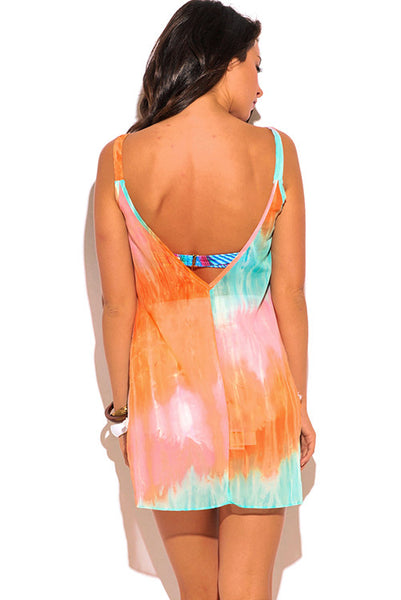 Orange Turquoise TieDye CoverUp
