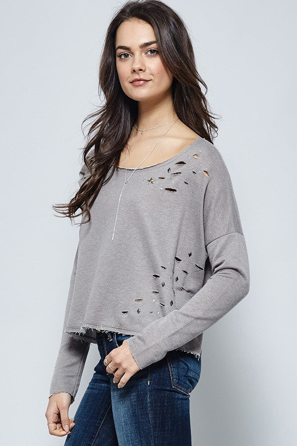 Beige Raw Edge Studded Ripped Distressed Top
