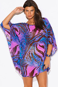 Blue Abstract Chiffon Tunic Cover Up
