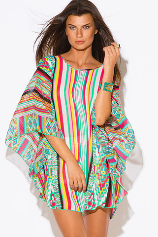 Multi Color Stripe Print Sheer Chiffon Top CoverUp