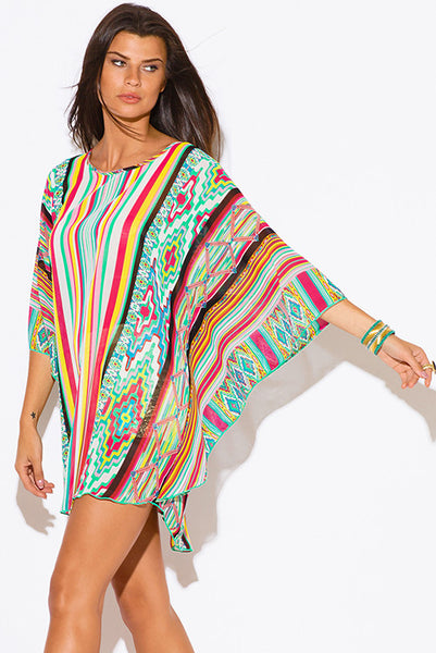 VB+ Multi Color Stripe Print Sheer Chiffon Top -