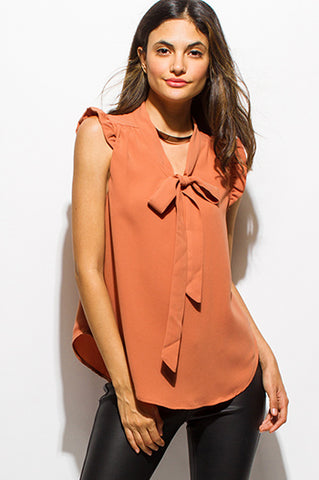 Coral Ruffle Sleeveless BowTie Blouse