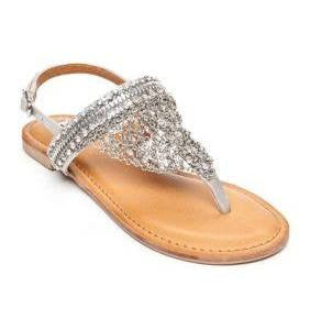 Not Rated Silver Chained Jeweled Thong Sandal