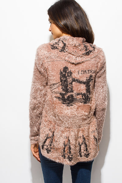 Taupe Fuzzy Knit Open Draped Cardigan Sweater