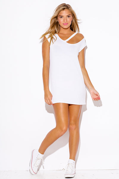 White Boyfriend Tee Tunic Dress Top