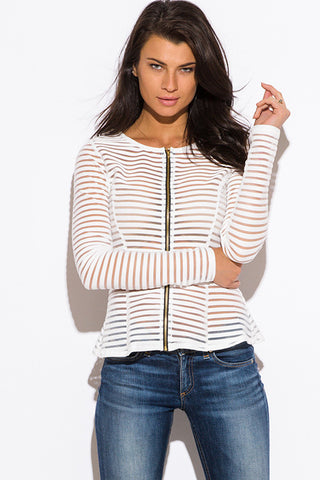 White Mesh Stripe Summer Jacket