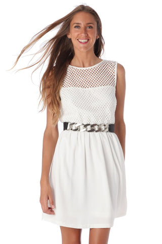White Mini Mesh Top Skater Dress