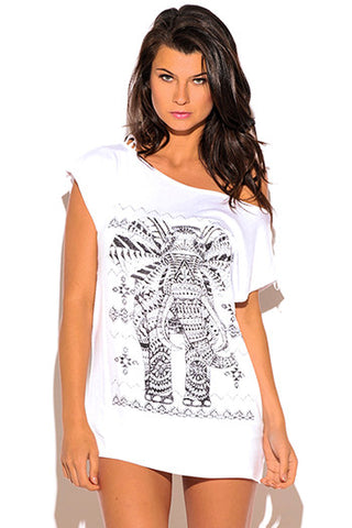 White Graphic Embellished Tee