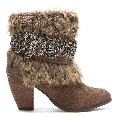 Taupe Brown Friends Furever Embellished Bootie