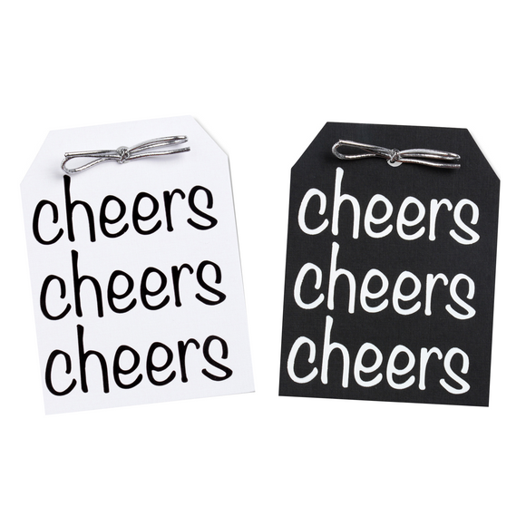 Cheers Black & White Tags Pack of 10