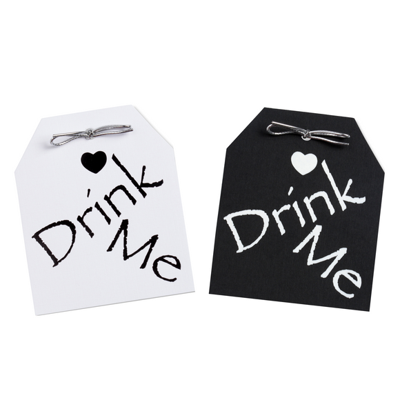 Drink Me Black & White Tags Pack of 10
