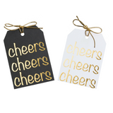 Gold foil on black or white paper Cheers gift tags with metallic gold ties. Size 3 x4 inches