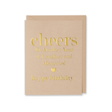 Gold Cheers To Another Year Happy Birthday Card