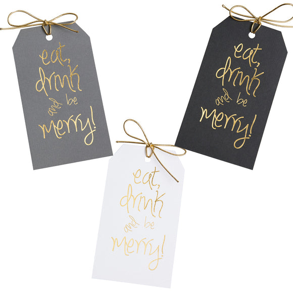 Gold foil eat, drink and be merry! gift tags with metallic gold ties. 3x5