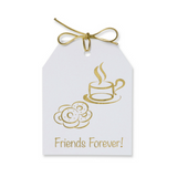 Gold Foil Friends Forever! Gift Tags with an image of donuts and coffee in gold foil. White linen paper with metallic gold ties.