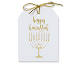 Gold  foil happy hanukkah gift tags with an image of a menorah. White linen paper with gold metallic ties. 3x4""