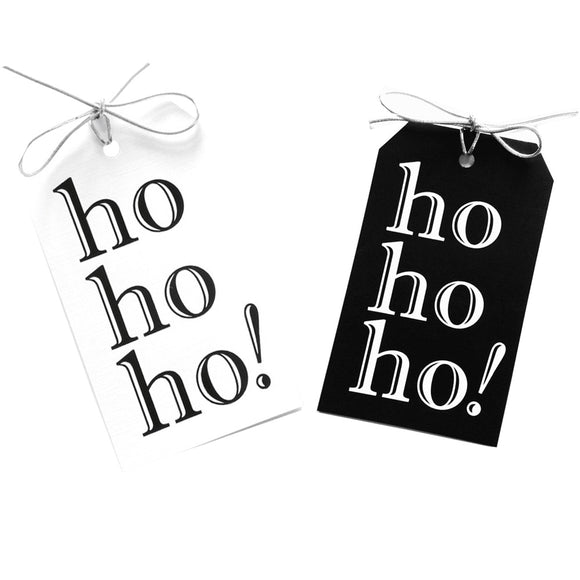 ho ho ho! gift tags with black and white foil on black and white linen paper  with metallic silver ties. 3x5