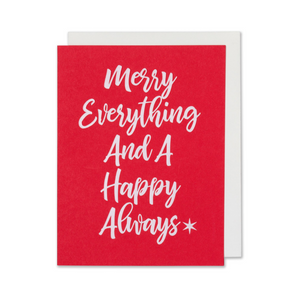 White Foil Embossed Holiday - Christmas Card. Merry Everything And A Happy Always. Red Paper with a bright white envelope