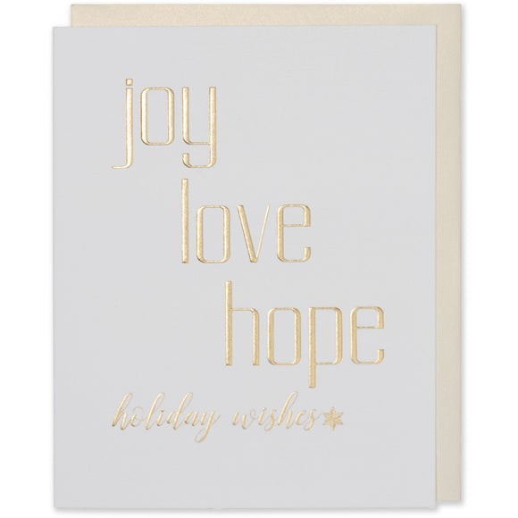 Gold Foil Embossed Joy Love Hope holiday wishes, with a star image and a bright white paper and a white gold metallic envelope