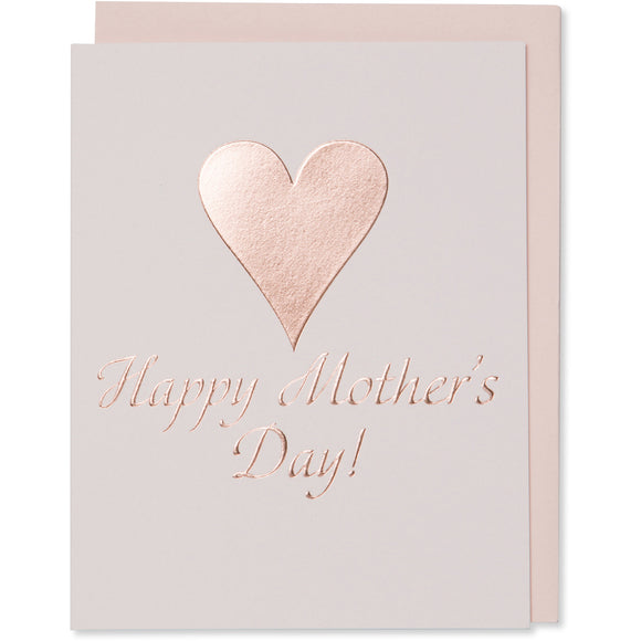 Rose Gold Foil Embossed Happy Mother's Day! Card with a big rose gold foil  heart. Light pink cotton paper with a blush envelope