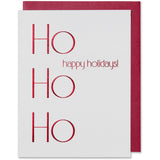 Red Foil Embossed  Ho Ho Ho happy holidays! Card, bright white paper and a red metallic envelope.