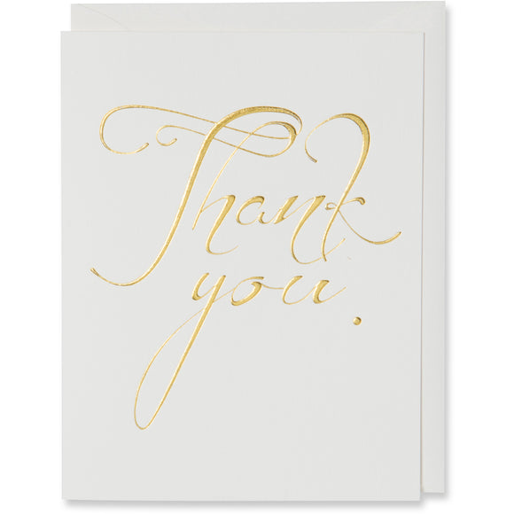 Thank You Card. Gold foil embossed on natural white paper with a natural white or metallic white gold envelope.