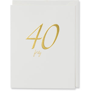 Gold Foil Embossed 40th Birthday Card. Natural white envelope or white metallic gold envelope.