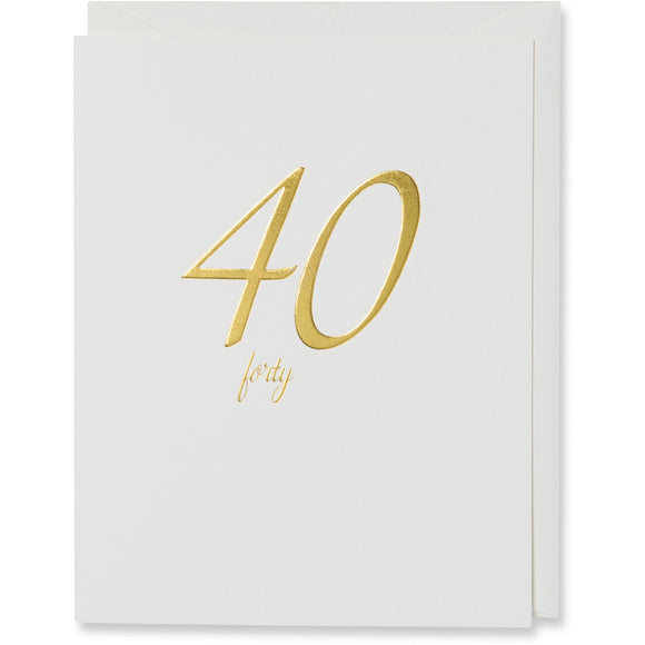 Gold 40th Birthday Card