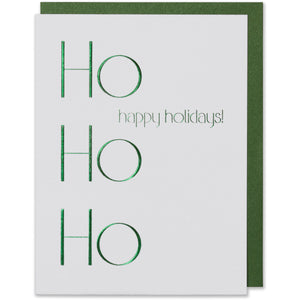 Metallic Green Foil Embossed Ho Ho Ho Happy Holidays! Card. Bright white paper with metallic green foil envelope.