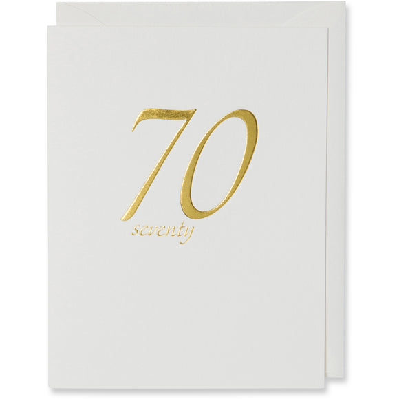 Seventy 70th Birthday Card Gold Foil Embossed on natural white paper with a natural white or white gold metallic envelope.