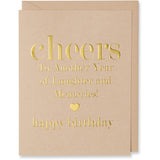 Gold Foil Embossed Cheers To Another Year of Laughter and Memories! (gold foil embossed heart image) happy birthday, card. Tan paper with a tan envelope or a white gold metallic envelope.