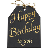 Gold foil Happy Birthday to you gift tags. Black linen paper with metallic gold ties. 4x5.5