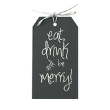 Eat Drink And Be Merry Silver Tags Pack of 10